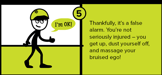 Thankfully, it's a false alarm. You're not seriously injured - you get up, dust yourself off, and massage your bruised ego!