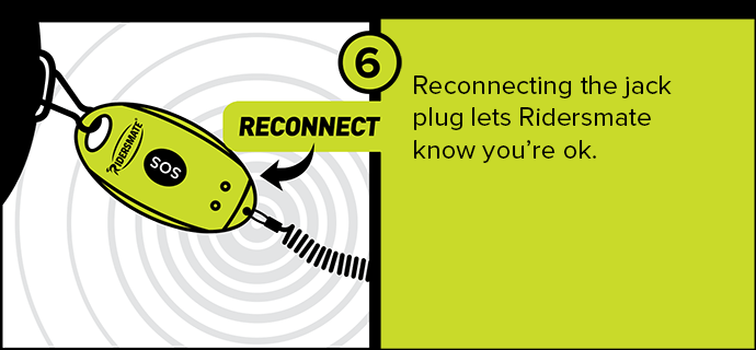 Reconnecting the jack plug lets Ridersmate know you're ok