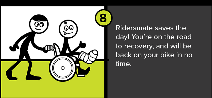 Ridersmate saves the day! You're on the road to recovery, and will be back on your bike in no time