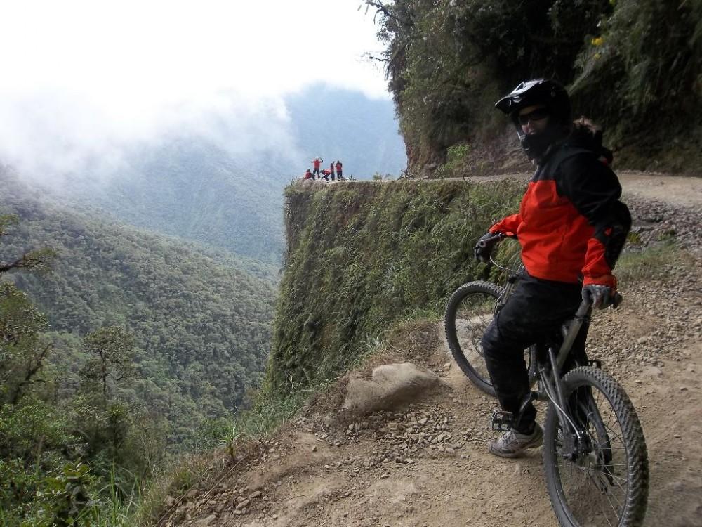 Mountain biker on Bolivian trail.