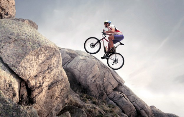 Mountain biker riding uphill