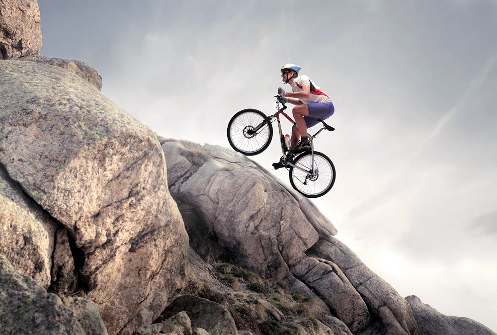 Mountain biker riding uphill