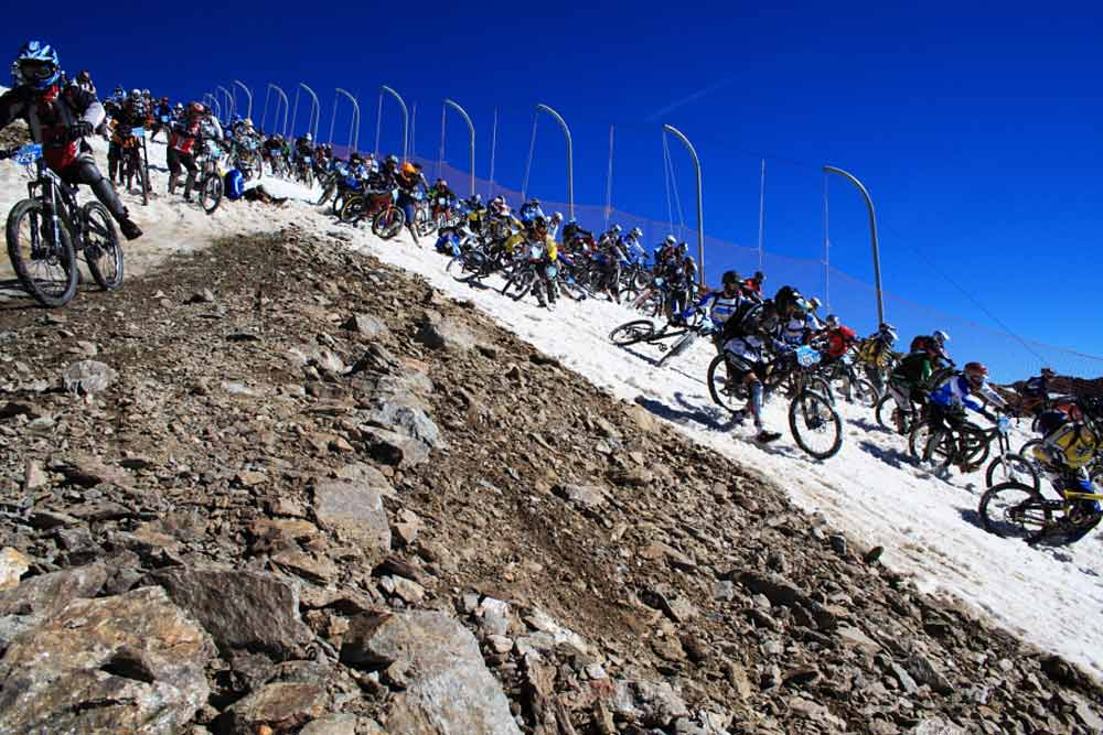 The Megavalanche downhill race in the French Alps.